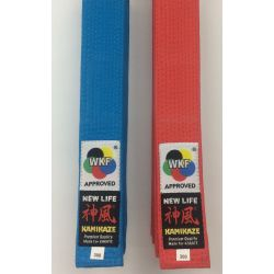 "KAMIKAZE KATA competition belt ""NEW LIFE Premium"" RED or BLUE cotton special thick BST, WKF APPROVED"