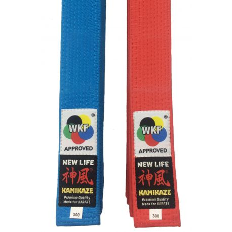 """Pack red & blue KAMIKAZE KATA competition belt """"NEW LIFE Premium"""" cotton special thick BST, WKF APPROVED"""