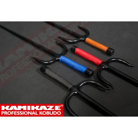 SAI KAMIKAZE PROFESSIONAL KOBUDO, solid wrought iron, octagonal, string grip, pair
