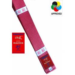 "KAMIKAZE RED competition belt ""KATA-MASTER"" SILK-SATIN, WKF APPROVED"