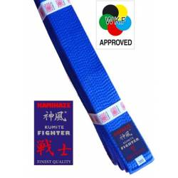 "KAMIKAZE BLUE competition belt ""KUMITE FIGHTER"" SILK-SATIN, WKF APPROVED"