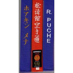 KAMIKAZE competition belt BLUE cotton, special thick including personalized embroideries